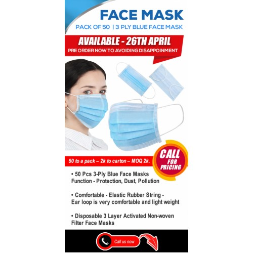 BLUE 3 Ply Surical Face mask  BLUE MASK EN14683 (pack of 50)